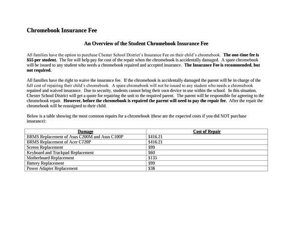Chromebook Insurance Fee Overview